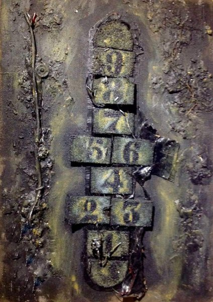 Hopscotch (mixed media) 60 cm x 40 cm. £250